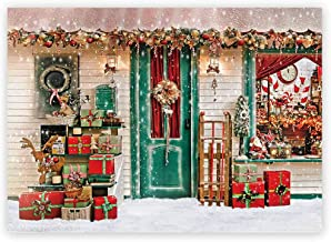 Funnytree 7X5ft Winter Christmas Photography Backdrop Xmas Snow Storefront Cottage Decorations Background Baby Portrait Photobooth Banner Photo Studio Props