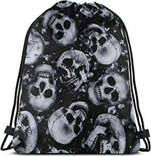 Drawstring Bags Skull Storage Laundry Bag Pouch Bag Drawstring Backpack Bag Washable Dust-Proof Breathable Non-Transparent...
