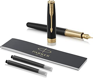 Parker Sonnet Black Lacquer Fountain Pen, Fine Nib, Black Ink
