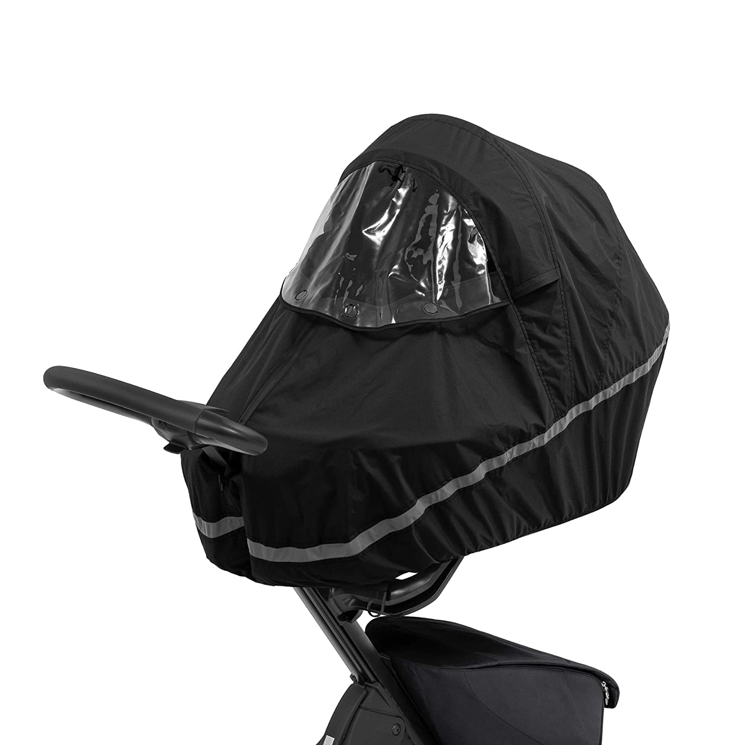 Stokke Xplory X Rain Cover, Black - Keep Baby Dry - Easy to Use, Transport & Store - Integrated Ventilation, Large Window & Safety Reflectors - Made from Water-Repellent Fabrics