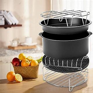 Les accessoires de l'air friteuse,il y a 6 pièces dans la kit d'accessoires pour la friteuse à air chaud,le moule à gâtea...