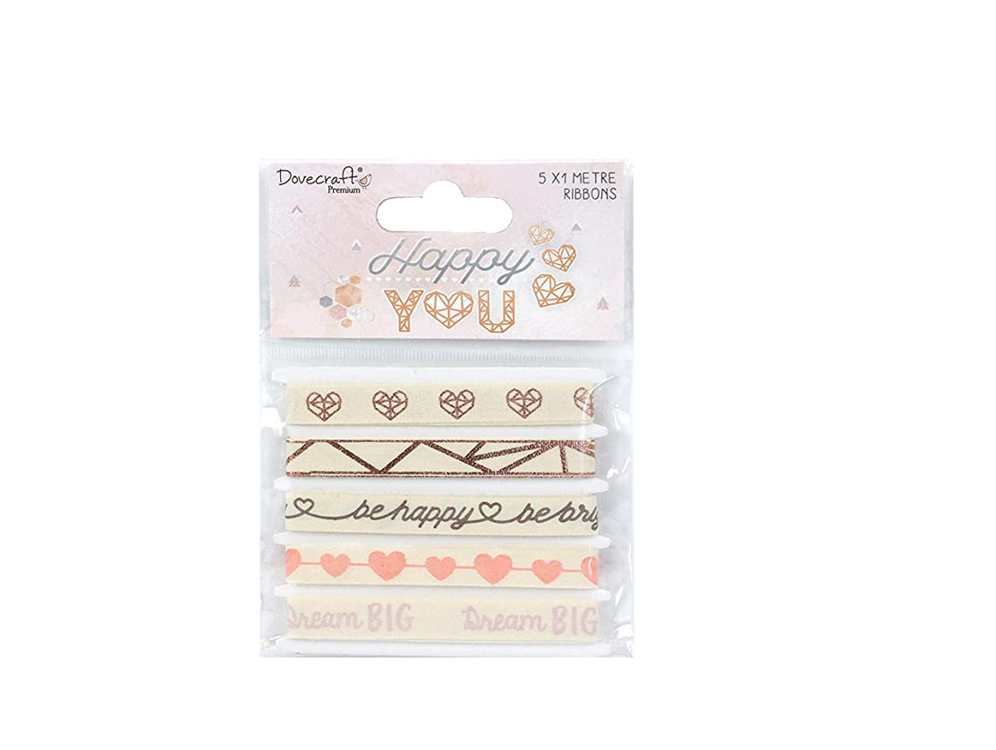 Dovecraft Premium Happy You Paper Craft Collection - Cotton Ribbon Pack