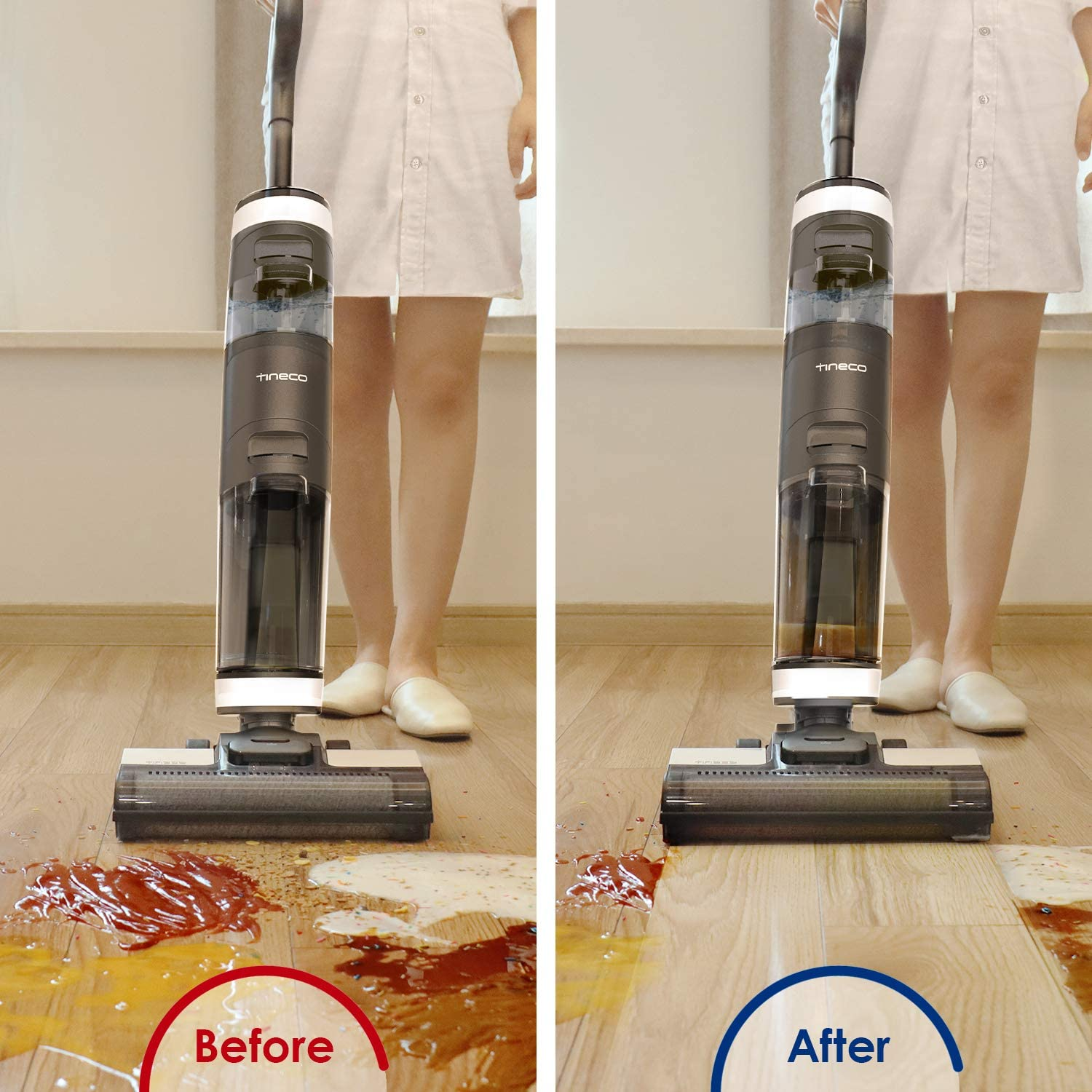 Lightweight Tineco Cordless Wet Dry Vacuum Cleaner iFLOOR3 One-Step Cleaning for Hard Floors