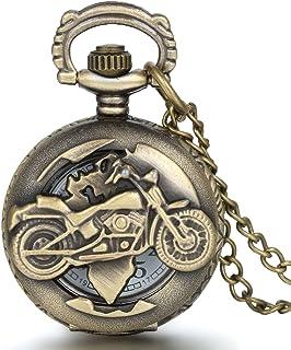 Reloj de Bolsillo para Hombre, Estilo Vintage, con diseño de Motocicleta, de JewelryWe - con Movimiento de Cuarzo y Cadena...