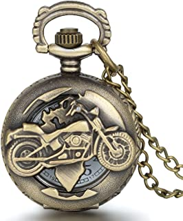 Bronze Biker Motorcycle Pocket Watch Motorbike Moto Pocket Watch Necklace Pendant Mens Fathers Day Gifts