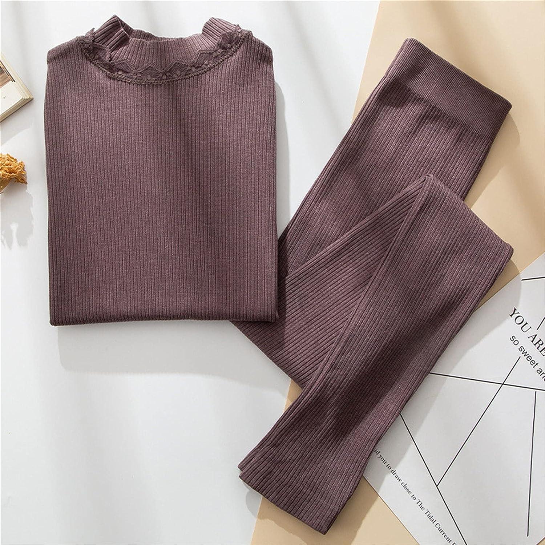 XIAOSEN Women Thermal Underwear Warm Sleepwear Clothes Winter Long Female Underwear (Color : Brown, Size : Fit (40-70) kg)