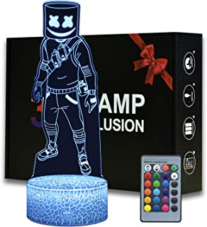 Game Series Battle Royale Luz nocturna 3D Ilusión de ABS Base Acrílico Tablero con Control Romete Lámpara de mesa Decoración para el hogar y la habitación (MY1146-Marshmello)