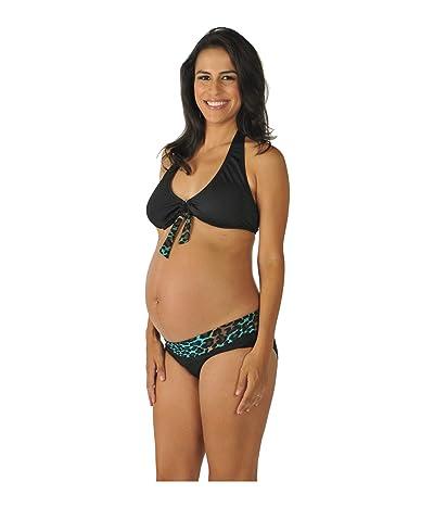 Prego Maternity Wear Animal Roll Waist Bikini (Black) Women