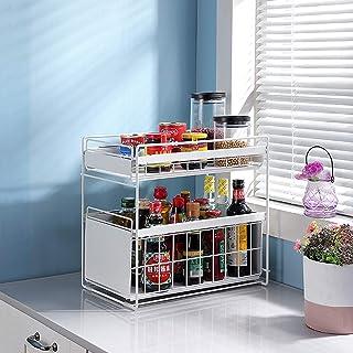 Organisateur de tiroir à 2 niveaux,Support de rangement sous l'évier,Organisateur avec tiroir à panier coulissant,Tiroirs ...