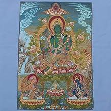 llh Nepal Verde Tara Buddha Thangka Pintura De Brocado Bordado Delicado De Seda Buda Tibetano Thangka