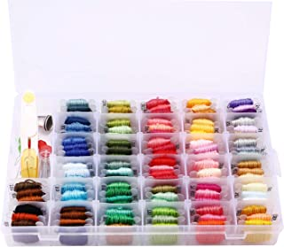 MoloTAR Embroidery Floss Cross Stitch Threads,100 Colors Friendship Bracelet String with Organizer Storage Box Embroidery Thread Bracelet String Embroidery Kit 38 Pcs Cross Stitch Tools