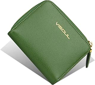Womens Slim Compact Zipper Wallet VISOUL Genuine Leather Small Wallets for Ladies Coin Pocket