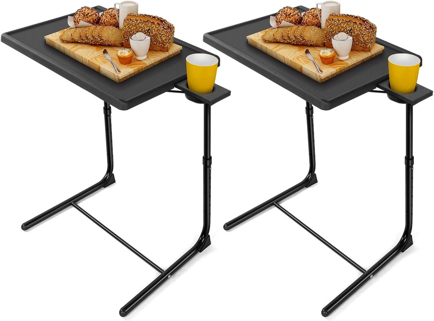 LORYERGO TV Tray Popular overseas discount Table - Packs 2 Dinner Tab Adjustable