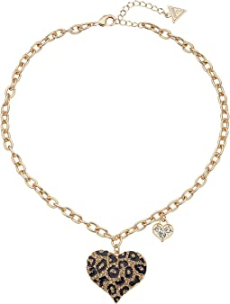 GUESS - Guess Gone Wild Animal Print Heart Necklace