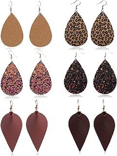 MSCOLOG Leather Leopard Pirnt Dangle Earrings for Women Girls, Antique Lightweight Leather Drop Earring Faux Leather Earrings Set