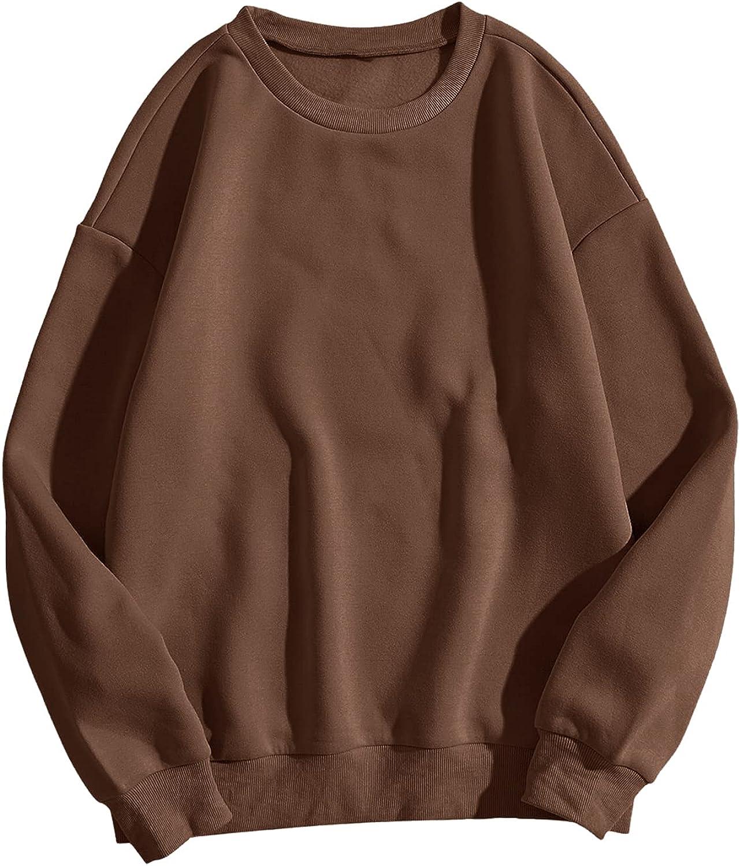 Verdusa Women's Long Sleeve Top Round Neck Drop Shoulder Pullover Sweatshirt