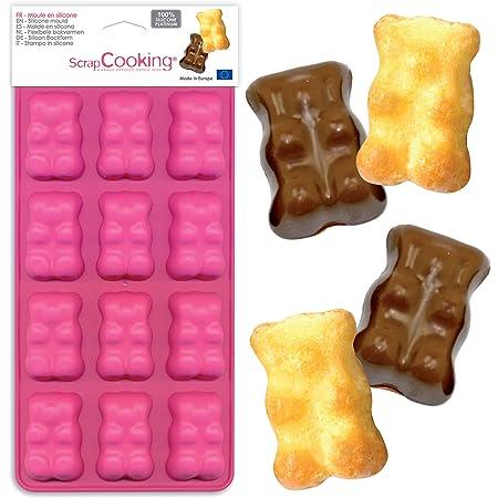 SCRAP COOKING 6723 Moule en Silicone Oursons Guimauve, 12 Formes pour Chocolat & Gâteaux, Ustensile Souple Pâtisserie, Apte Four & Congélateur, 26 x 12,5 x 1,5 cm