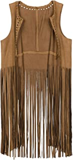 Women's Tassels Faux Suede Fringe Vest 70s Hippie Costume Open-Front Sleeveless Cardigan Vest