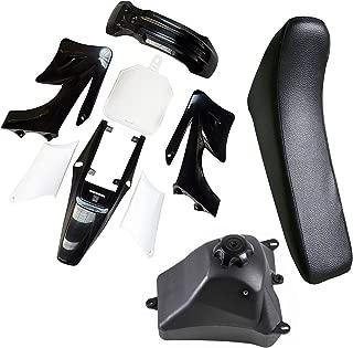 TDPRO Plastic Fairing Kit Fender Parts and Black Seat & 3L Gas Petrol Fuel Tank for Apollo Orion 110cc 125cc 150cc Pit Dirt Bike (4Black+3White)