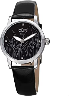 Burgi Diamond Accented Women's Watch – Casual Skinny Patent Leather Bracelet Strap - Printed Reed Design Dial with 4 Diamond Markers – Round Analog Quartz