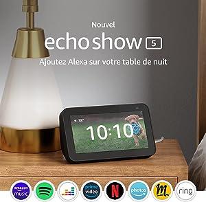 Nouvel Echo Show 5 (2e génération, modèle 2021) | Écran connecté avec Alexa et caméra 2 Mpx | Anthracite