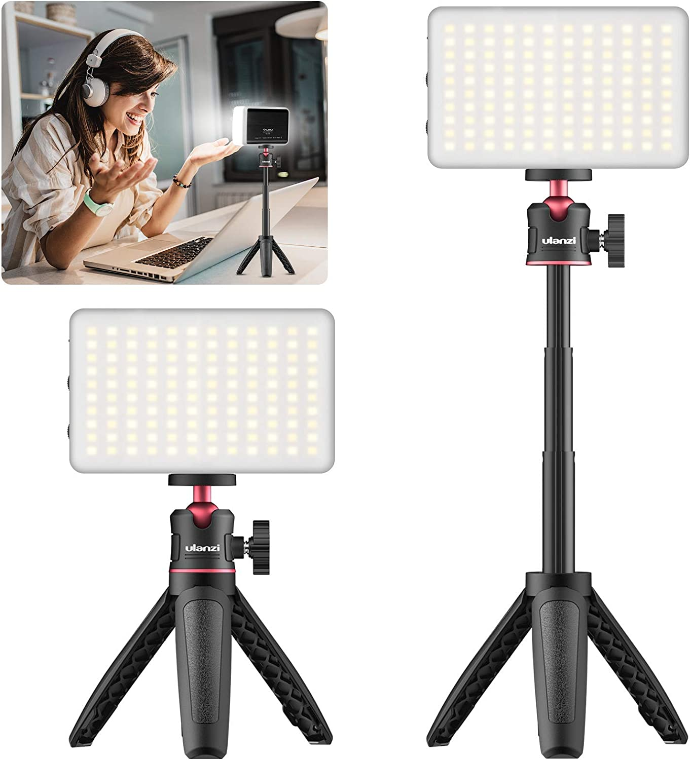 VIJIM 1 Pack Rechargeable Portable Photography Light with Mini Adjustable Tripod Stand Studying Livestreaming Office Desk Lamp for Remote Working Zoom Calling Video Conference Lighting Kit Black
