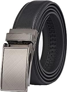 Lavemi men's Ratchet Comfort Click Slide Leather Dress Belt with Aumatic Buckle,Trim to Fit