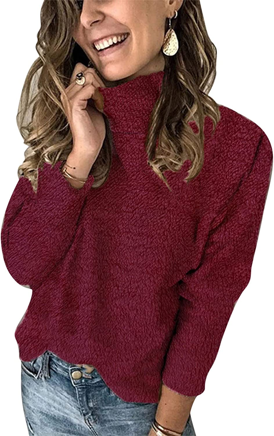 Tampa Mall NRUTUP Womens Easy-to-use Turtleneck Long Sleeve Color Loose Sweater Solid A