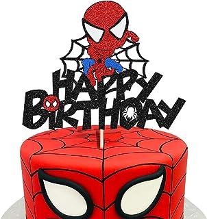 KAPOKKU Cute Superhero Happy Birthday Cake Topper for Spiderman Avengers Crew Theme Cake Decor Boy Children Superhero Part...