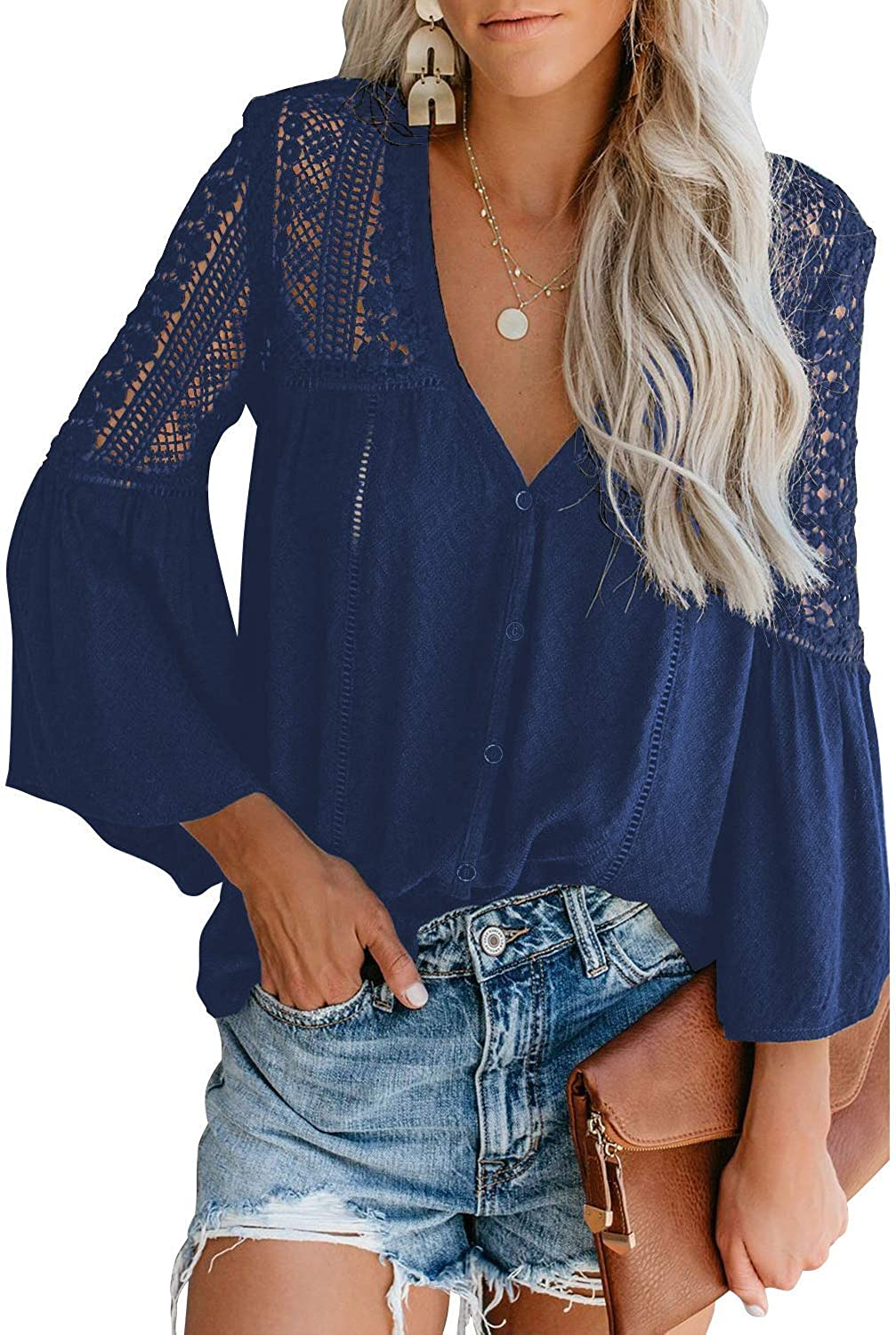 Qalaru Women Lace Crochet V Neck Tunic Shirts Bell Sleeve Button Down Casual Blouses Tops
