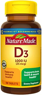 Nature Made Vitamin D 25 mcg (1000 IU) Tablets, 100 Count for Bone Health