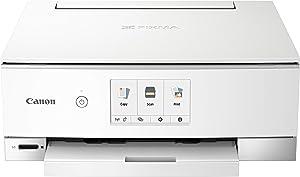 Canon TS8320 All In One Wireless Color Printer, Copier, Scanner, Home Inkjet Printerwith Mobile Printing, White, Amazon Dash Replenishment Ready