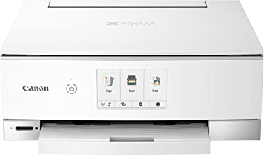 Canon TS8320 All In One Wireless Color Printer, Copier, Scanner, Home Inkjet Printerwith Mobile Printing, White, Works with A
