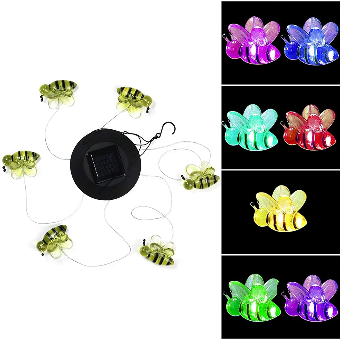 LED Solar Color Changing Wind Chime Outdoor, Waterproof Solar Mobile Wind Chime with Battery,Eco-Friendly and Saving Electricity Fee,for Home/Night/Yard/Party/Festival/Patio/Garden (Bee Wind Chime)