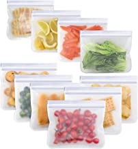 Salandens Bolsas de almacenamiento reutilizables,paquete de 10 bolsas de congelador a prueba de fugas (5 bolsas de sándwic...