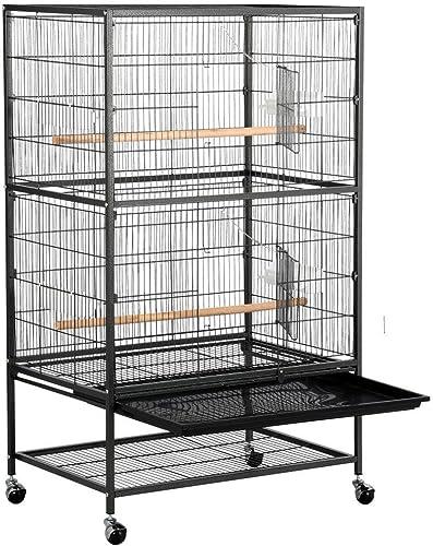 Yaheetech Grande Volière Cage Oiseaux sur roulettes Canaries Perroquet Perruches Cacatoès Ara 2 Étages avec Support 7...