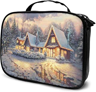 Cosmetic Bag Christmas Lodge Makeup Bag Lightweight Portable Cosmetic Case Water Resisted Cosmetic Makeup Bag Durable Organizer Makeup Boxes With Insulated Pockets For Travel