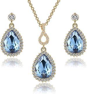 Swarovski Crystals Teardrop Pendant Necklace Earrings for Women 14K Gold Plated Hypoallergenic Jewelry Set