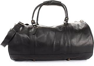 LECONI Reisetasche für Damen & Herren Ledertasche Weekender groß Sporttasche Männer  Frauen Handgepäck Sporttasche echtes Rinds-Leder Natur Retro 53x28x28cm LE2004
