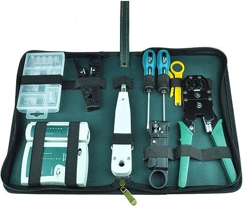 NUZAMAS Ethernet LAN RJ11 RJ45 CAT5 Cable Tester Network Analyzer Wire Crimping Crimper Stripper Tool Kit Screwdriver...