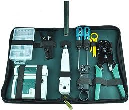 NUZAMAS Ethernet LAN RJ11 RJ45 CAT5 Cable Tester Network Analyzer Wire Crimping Crimper Stripper Tool Kit Screwdriver Punc...