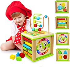 Ulmisfee 5-in-1 Activity Cube Toys Baby Educational Wooden Bead Maze Shape Sorter Toys for Boys Girls Kids Toddlers Gifts Activity Center