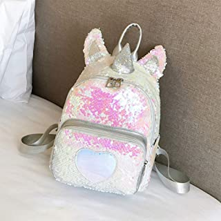 AMAZACER Girls Fashion Sequin Cute Backpack Travel Bag (Color : Silver, Size : One Size)