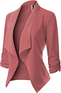 MixMatchy Women's [Made in USA] Classic 3/4 Gathered Sleeve Open Front Blazer Jacket (S-3XL)