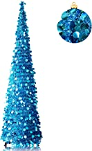 YuQi Collapsible Christmas Trees Tinsel Artificial Xmas Tree with Stand for Christmas & Halloween,Party,Next New Year,Wedd...