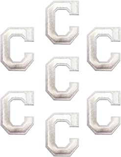 """White """"C"""" Letter 7pcs Alphabet Letter A-Z Iron on Patches Sew on Approx. 2.2 x1.9 inches (White, C)"""