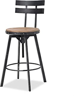 Christopher Knight Home Jutte Firwood Smooth Back Bar Stool, Black Brush Silver