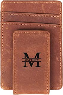 Flamingo Personalized Engraving Included Faux Leather Money Clip Wallet