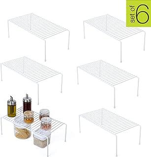 Smart Design Kitchen Storage Shelf Rack w/Plastic Feet - Steel Metal - Rust Resistant Finish - Cups, Dishes, Cabinet & Pantry Organization - Kitchen (16 x 6 Inch) (Large) [White] - Set of 6