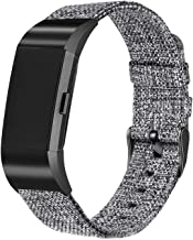 bayite Canvas Fabric Bands Compatible with Fitbit Charge 2, Soft Classic Replacement Woven Straps Wristband Women Men